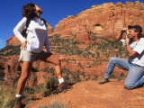Woman Dramatically Models for Camera While Out Hiking Photographic Print by Kate Thompson
