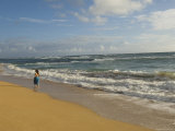 Walking in the Water at Anahola Beach, Hawaii Photographic Print by Bill Hatcher