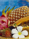 Exotic Fruits: Lychees, Red Pitahaya, Papaya, Pineapple Photographic Print by Vladimir Shulevsky