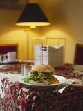 A Hamburger on a Plate in Amsterdam Restaurant Photographic Print by George Seper
