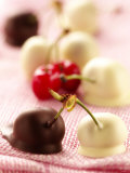 White and Dark Chocolate Cherries Photographic Print by Joff Lee