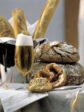 Assorted Bread with a Cold Glass of Beer Photographic Print