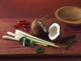 Lemon Grass, Chili, Lemon Leaves, Pepper and Coconut Photographic Print by Jörn Rynio