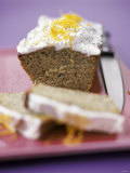 Poppy Seed Chocolate Cake with Lemon Cream Photographic Print by Ian Garlick
