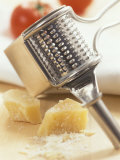 Whole and Grated Parmesan Cheese, Grater Photographic Print by Alena Hrbkova