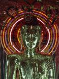 Waist-Up Shot of a Uniquely Designed, Green Metallic Buddha Fotografisk tryk af James L. Stanfield