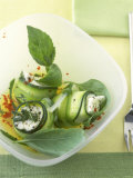 Marinated Courgette Rolls with Mozzarella and Feta Filling Photographic Print by Jörn Rynio