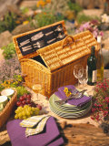 Still Life with Picnic Basket, Crockery, Glasses and Wine Photographic Print by Alena Hrbkova