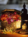 Hand-Made Philippine Silver Box with Flowers, Sisal Fibres Photographic Print