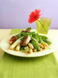 Asparagus with Mangetouts and Pork Fillet Medallions Photographic Print by Jan-peter Westermann
