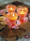 Three Candles and Rose Petals on a Table Photographic Print by Alena Hrbkova