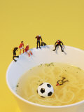 Footballers Looking for Ball in Noodle Soup Pond Photographic Print by Martina Schindler
