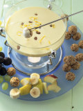 Sweet Quark and Cream Fondue with Fruit and Muesli Balls Photographic Print by Jörn Rynio