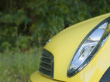Yellow Mini Car Front End Detail of Grill and Light, Santa Barbara, California Photographic Print by James Forte