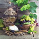 Still Life with White Wine, Grapes, Cheese and Walnuts Photographic Print