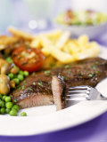 Beef Steak with Vegetables and Chips Photographic Print by Ian Garlick
