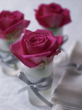 Table Decoration of Red Roses in Glasses Photographic Print by Michael Paul