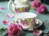 Rose-Patterned Tea Things Photographic Print by Michael Paul