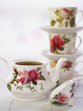 Rose-patterned Teapot and Teacups Photographic Print by Per Ranung