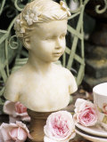 Bust of Girl Beside Crockery and Roses Photographic Print by Elke Borkowski