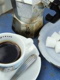 A Cup of Espresso, Sugar Cubes and Espresso Pot Photographic Print by Véronique Leplat