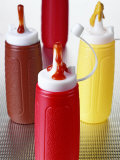 Ketchup and Mustard in Plastic Bottles Photographic Print