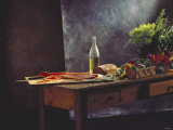 Still Life: Salmon, Olive Oil, Bread & Vegetables on Table Photographic Print by Amos Schliack