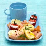 Marinated Boiled Potatoes with Smoked Salmon &amp; Stuffed Tomatoes Photographic Print by Bernard Radvaner
