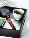 Asian Bowl, Chopsticks and Newspaper on Tray Photographic Print by Kolabas Hulya