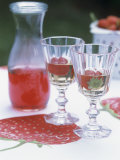 Two Glasses of Strawberry Wine on a Table in the Garden Photographic Print by Alena Hrbkova