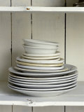 White Plates and Soup Plates (In Piles) Photographic Print by Ellen Silverman