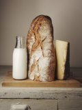 Milk Bottle, Bread and Cheese on a Wooden Cupboard Photographic Print by Joerg Lehmann
