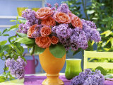 Arrangement of Roses and Lilac Photographic Print by Friedrich Strauss