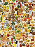 Colourful Mixture of Foods and Dishes Photographic Print