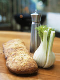 Ciabatta, Fennel Bulb and Pepper Shaker, Barbecue Behind Photographic Print by Véronique Leplat