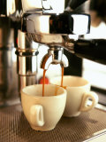 Espresso Running out of Espresso Machine into Two Cups Photographic Print by Stefan Braun