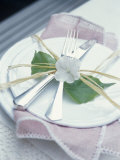 Place-Setting with Cutlery, Decorated with Raffia & Flower Photographic Print by Maja Smend