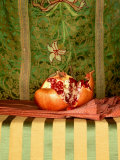 A Pomegranate with Asian Linens Photographic Print by Jan-peter Westermann
