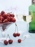 Bowl of Cherries and Two Glasses of White Wine Photographic Print by Vladimir Shulevsky