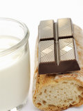A Piece of Chocolate, Baguette and a Glass of Milk Photographic Print by Alain Caste