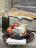 Italian Cheese, Tomatoes, Olive Oil and White Bread Photographic Print