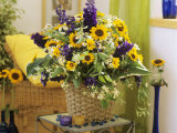 Arrangement of Delphiniums, Sunflowers and Coreopsis Photographic Print by Friedrich Strauss