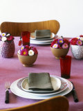 Bowls of Flowers on Laid Table Photographic Print by Benedetta Spinelli