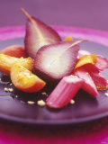 Poached Fruit (Pears, Rhubarb, Peaches) Photographic Print by Maja Smend