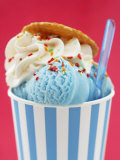 Blue Ice Cream in Tub with Sugar Sprinkles Photographic Print by Marc O. Finley