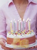 Birthday Cake with Burning Candles Photographic Print by Linda Burgess