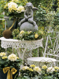 White Hydrangeas and a Cherub on a Terrace Photographic Print by Elke Borkowski