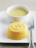 Savoury Carrot Custard with Vegetable Sauce Photographic Print by Nicolas Coipeau