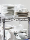 Assorted Tableware on a Rack Photographic Print by Linda Burgess