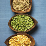 Three Types of Lentils in Bowls Photographic Print by Jonah Calinawan